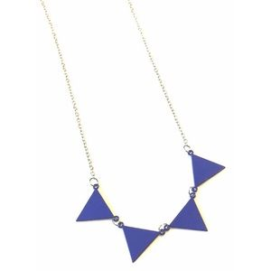 Long Banner Necklace Pendant Triangle Flag Blue